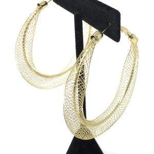 Gold Mesh Hoop Earrings Fashion Jewelry